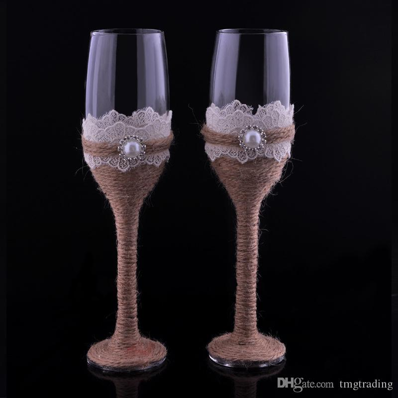 Of 2 Burlap Lace Design Rustic Wedding Champagne Flutes Wedding Wine