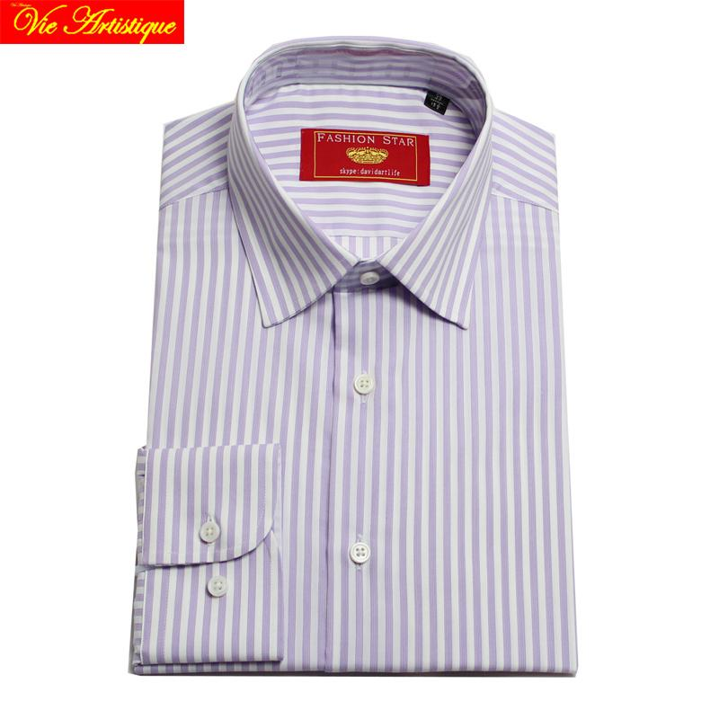 camisa masculina men s long sleeve purple white striped dress shirts male  tailored 6789 XL business office cotton slim fit 2018