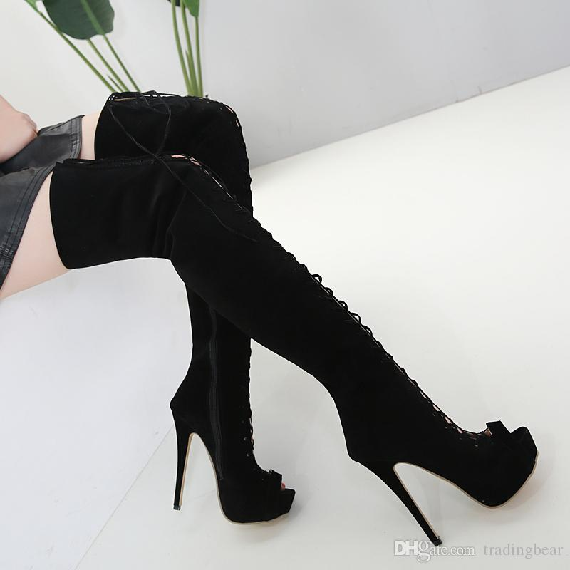 adb076d129b Sexy Lace Up Hollow Out Platform Peep Toe Thigh High Heel Boots Over The Knee  Black Size 35 To 40 Monkey Boots Cheap Football Boots From Tradingbear