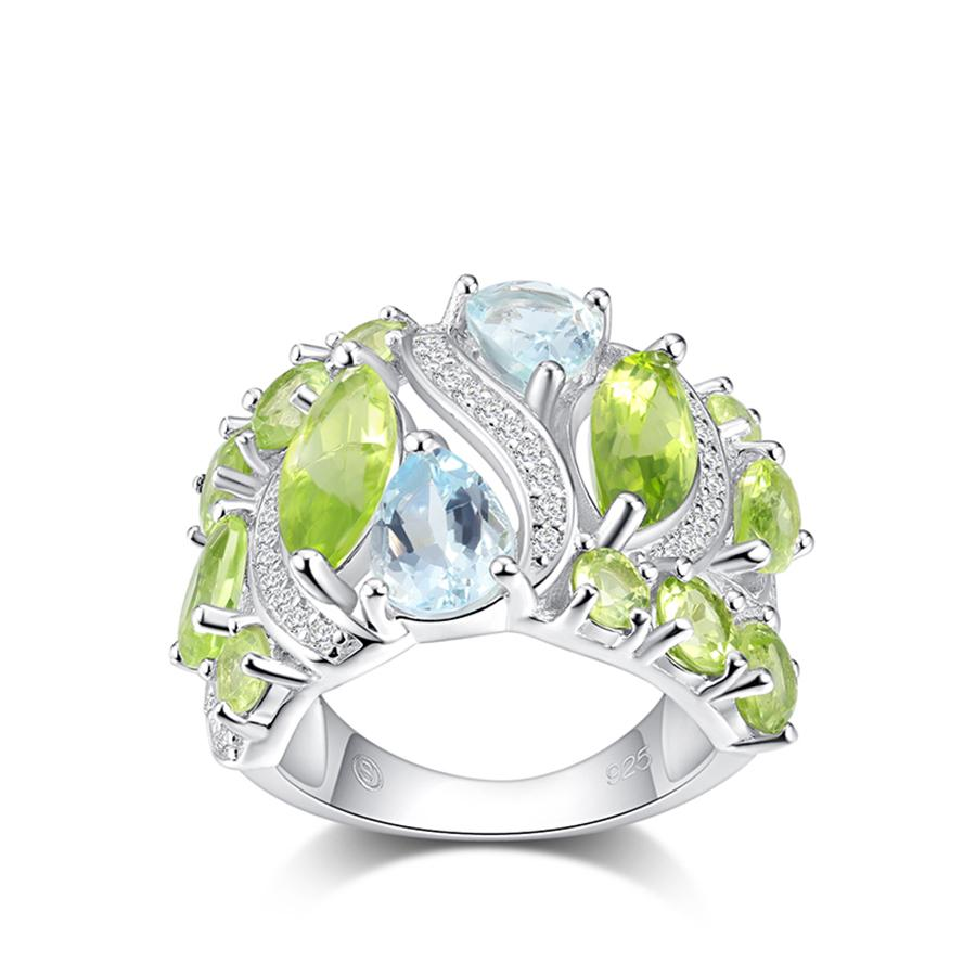6a1ba419de841 PJC 925 Sterling Silver Rings Created Natural Gemstone 3.28cts Peridot And  0.17cts Aquamarine For Women Party Dating Jewelry S18101002