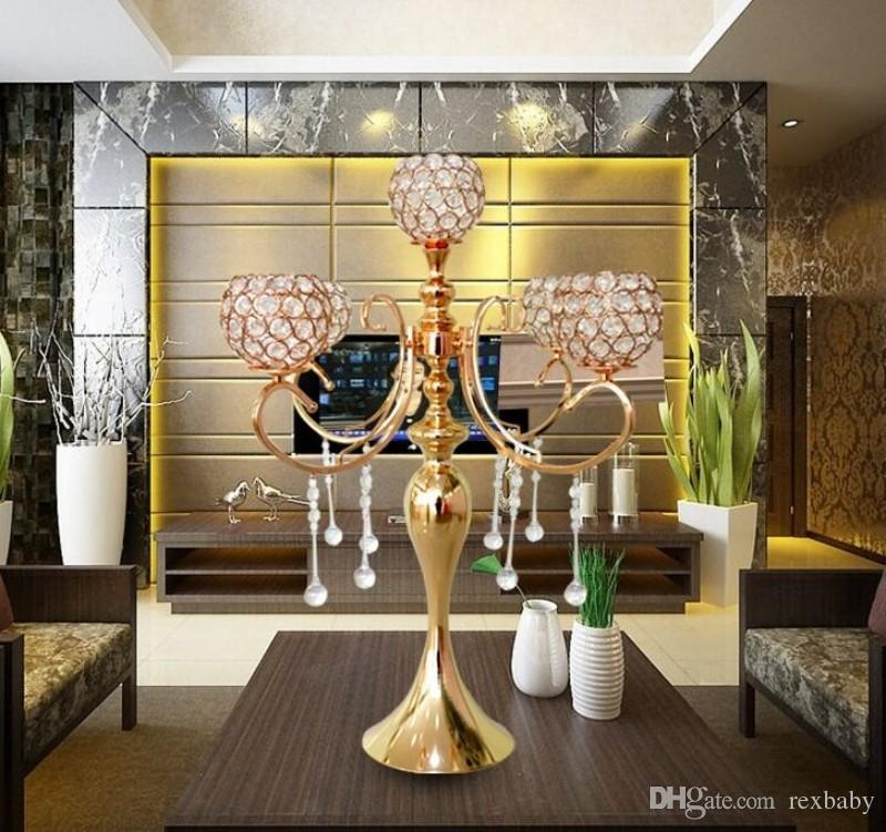 elegant new tall 5 arms wedding rose gold crystal candelabra for wedding decoration centerpieces
