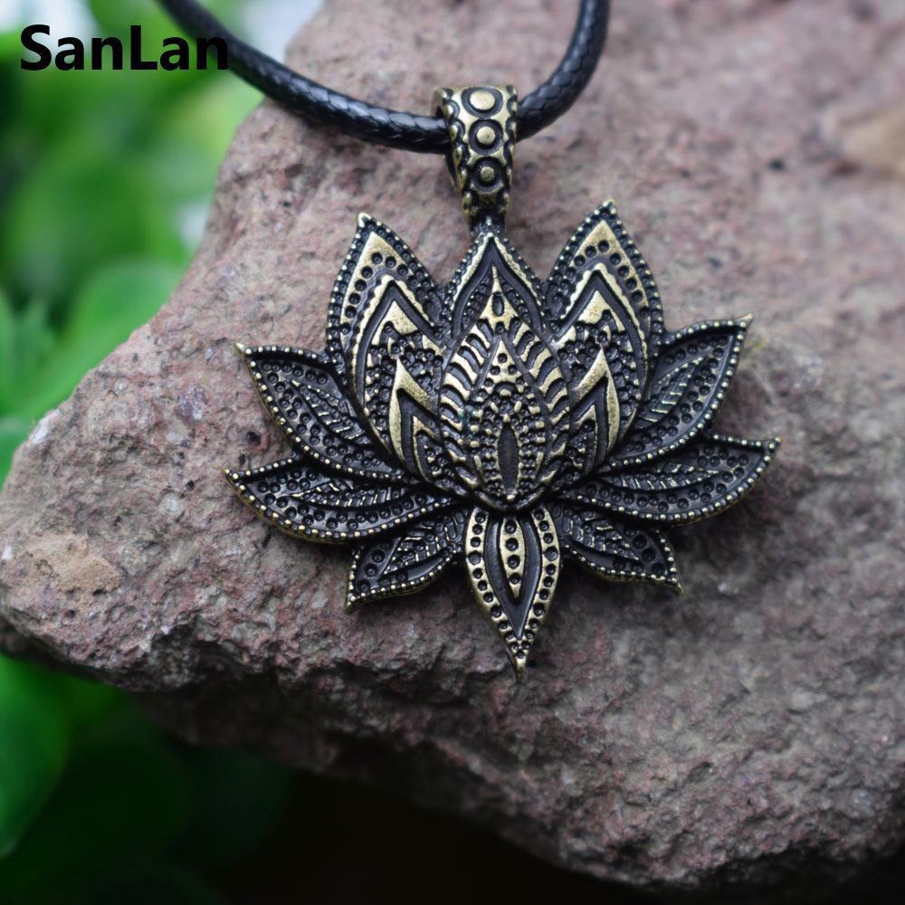 2018 Whole Salesanlan Vintage Charm Mandala Lotus Flower Pendant