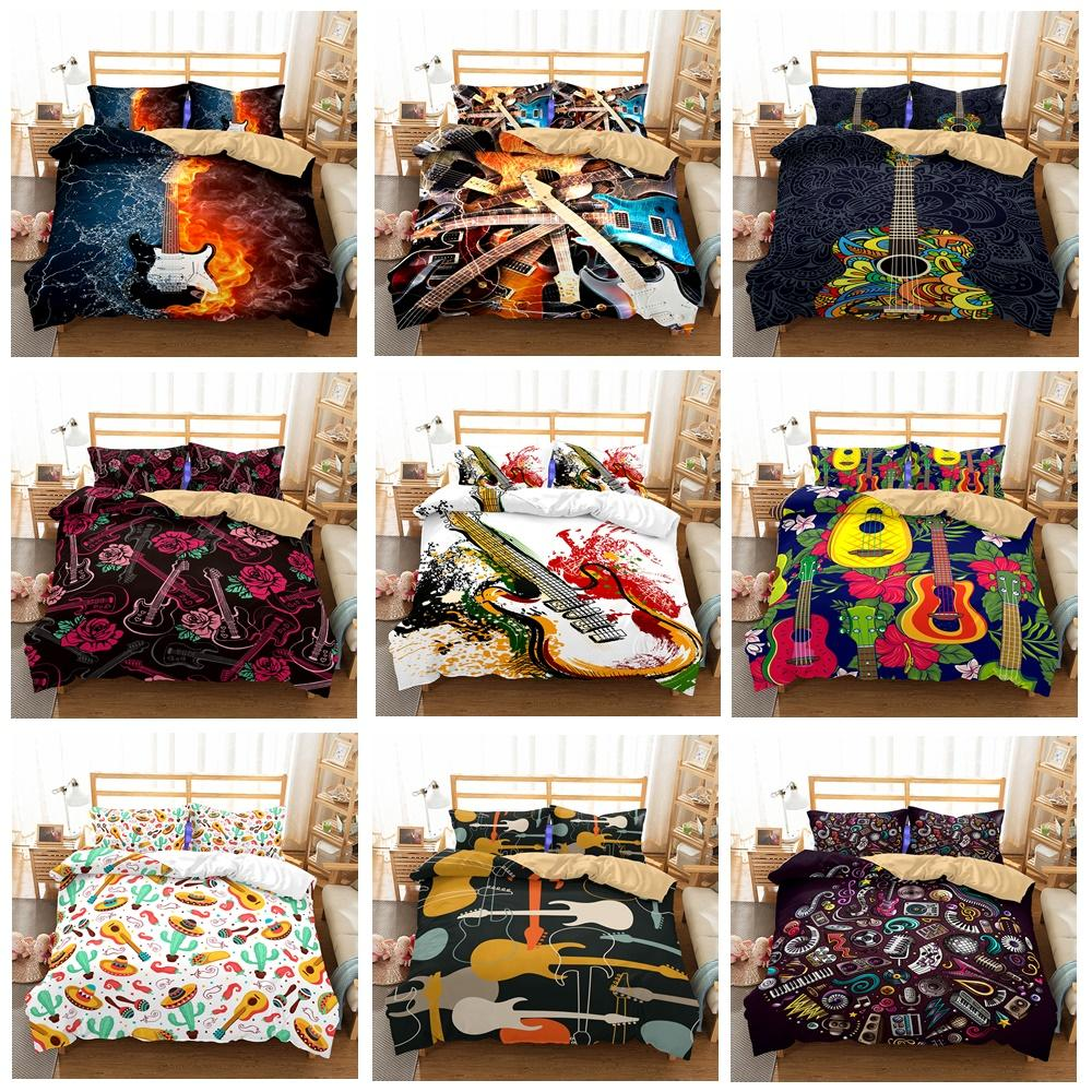 Wholesale Art Guitar Pattern Bedding Set Queen Duvet Covers Pillow Case  Bedclothes Set Grey And Blue Bedding Fine Bedding From Molahome, $41.61|  Dhgate.Com