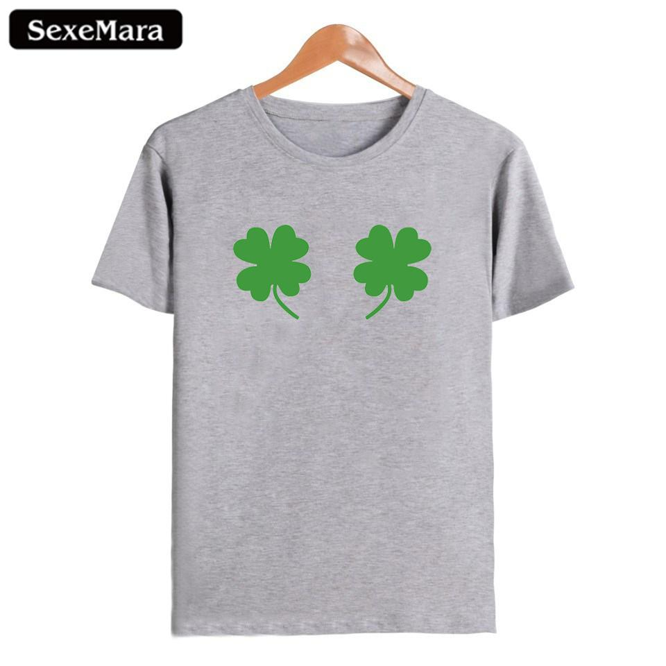 a9526ff55c387 Women's Tee Sexemara Four Leaf Clover T Shirt Harajuku Punk Women Tops Sexy  Spoof Funny Short Sleeves 2018 New Arrival