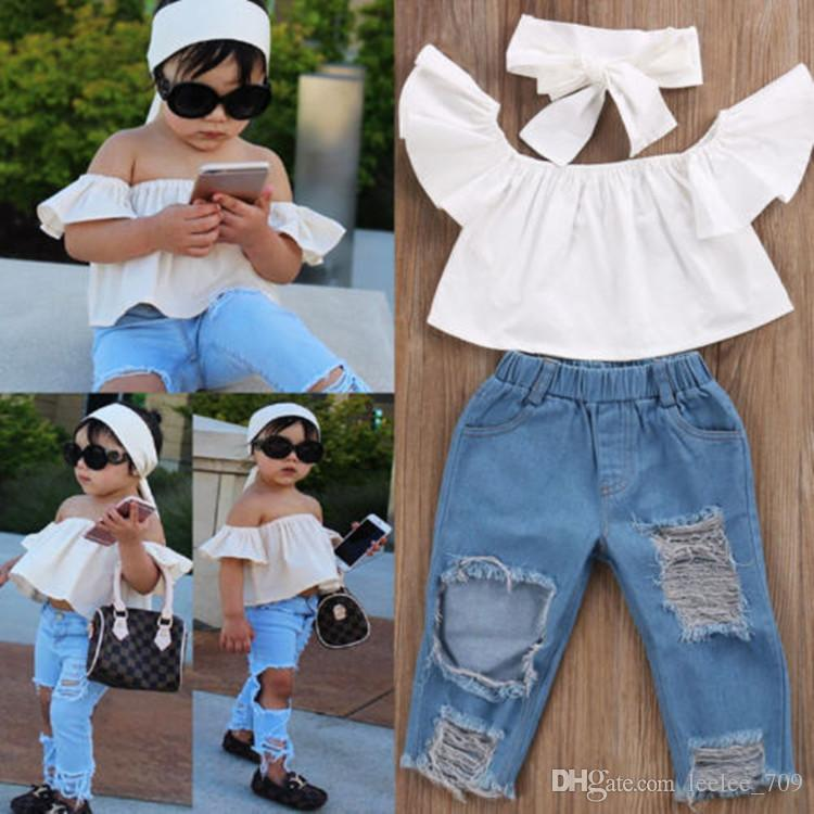 ec1060b0cb44 3PCS Set Cute Baby Girls 2017 New Fashion Children Girls Clothes Off  shoulder Crop Tops White+ Hole Denim Pant Jean Headband 3PCS Toddler Ki