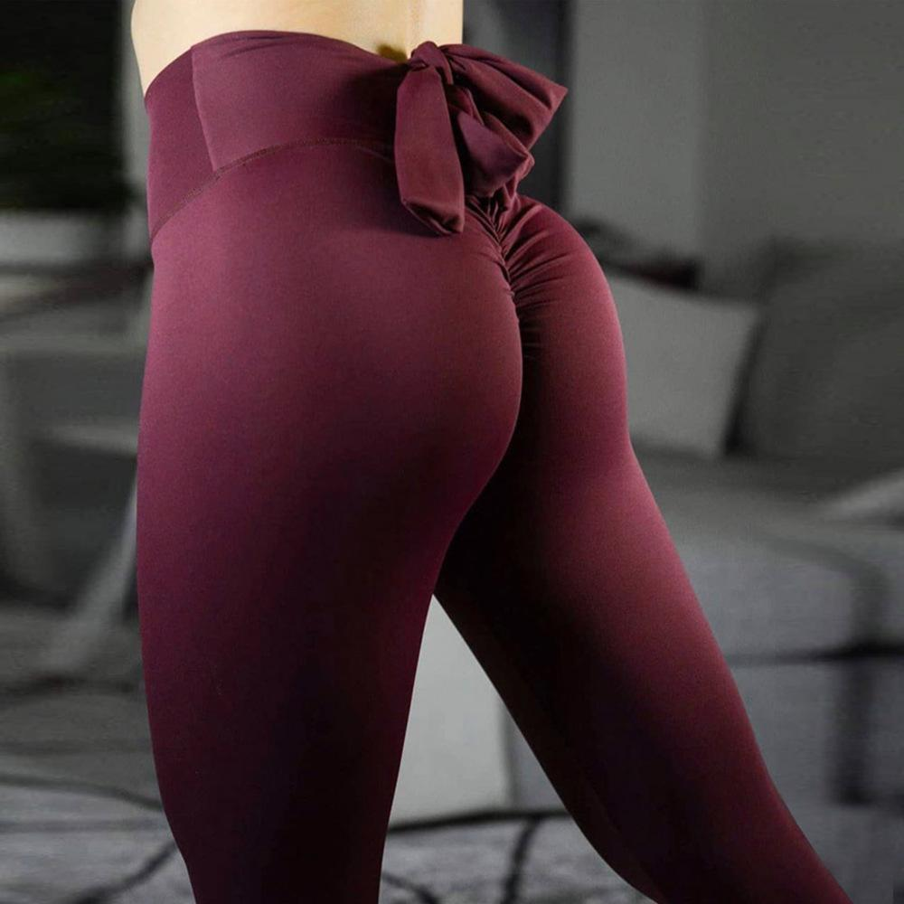 8643ebf3c72 Womens High Waisted Push Up Yoga Workout Pants Bow Tie Running Tummy Capri  Leggings