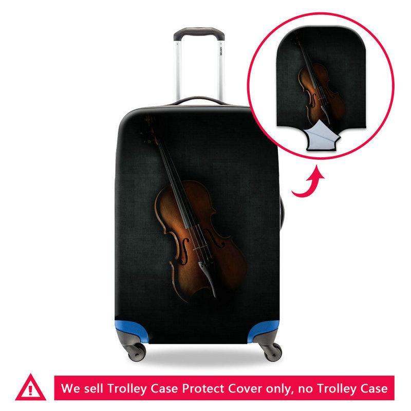 3D Printing Violin Waterproof Travel Luggage Protector Cover For 18 20 22 24 26 28 30 Inch Trunk New Case For Suitcase Washable Dust Covers