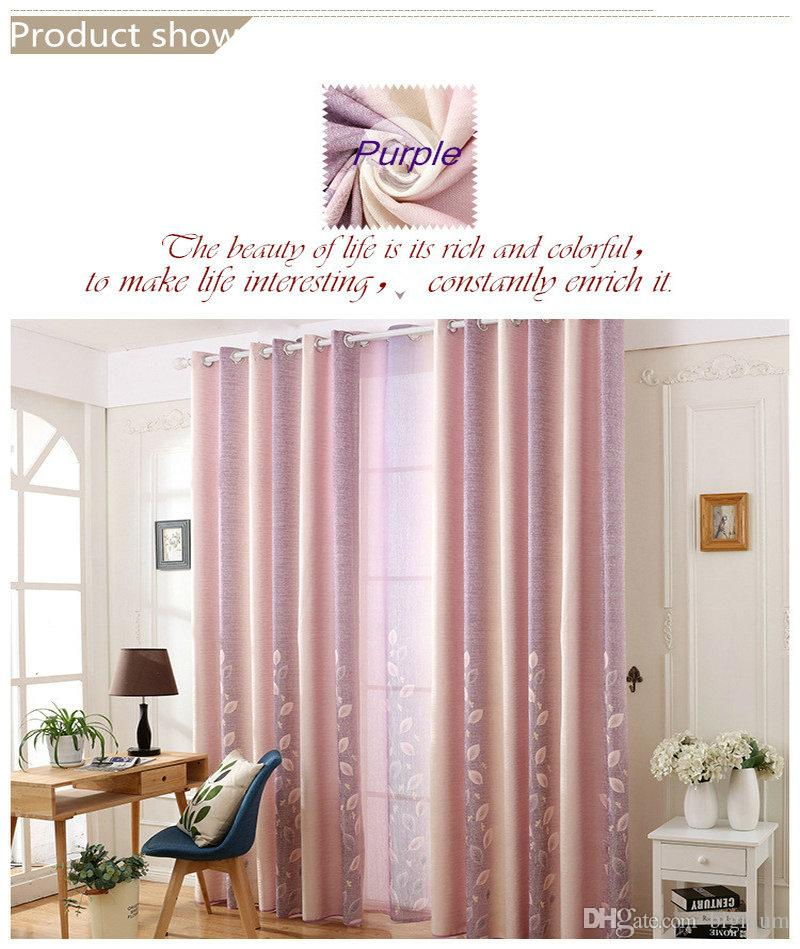 Modern Style Cotton Linen Blackout Curtain Leaves Priented Purple/Green Color Cloth For Adult Child Living Room Bedroom Decor