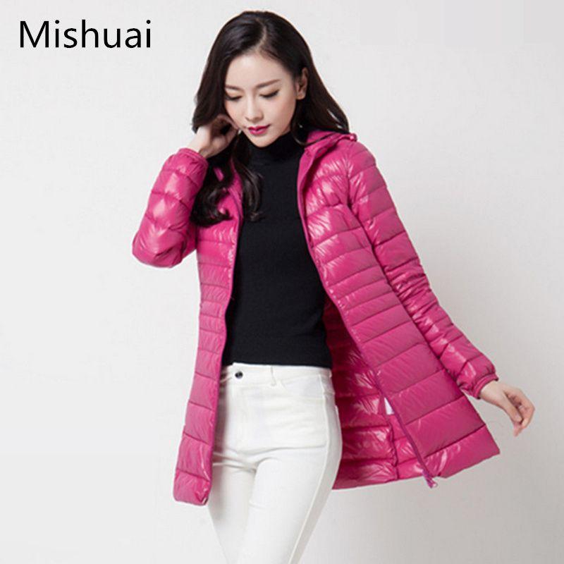 a4cac73c23a 6XL Plus Size Women Down Jacket Thin Parkas Long Womens Ultra Light Jackets  Autumn Winter Windproof Spring Parka Hood Over Coat