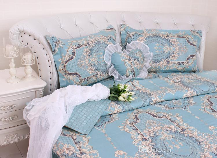 Round corner Bed Brief Blue Stripe Bedding kit super california king size COTTON Duvetcover pillowcase Bedskrit set Round lace Bedding sets