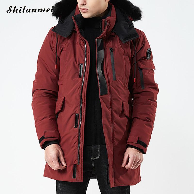 9c2009442e278 2019 Plus Size Men Parkas Jackets Fur Hooded Coat Wine Red Winter Long Jacket  Men S Parka Hombre Padded Thick Overcoat Army Green 3xl From Cactuse