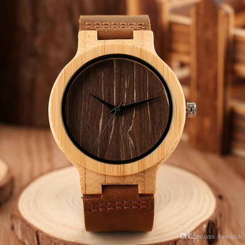 الخشب ووتش العصرية للرجال على مدار الساعة الطبيعية خشبية اليدوية الكوارتز ووتش جلدية باند المعصم ووتش شحن مجاني
