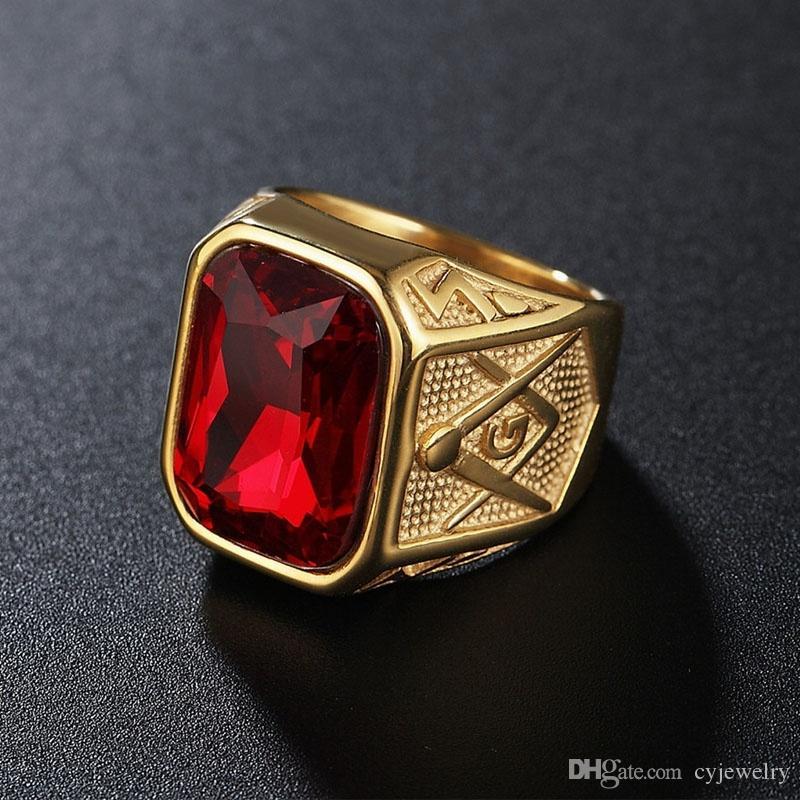 b0bde6f53b1af Acheter Vintage Or Couleur Rouge Noir Bleu Vert Grande Pierre Cristal  Maçonnique En Acier Inoxydable 316L Hommes Bague Taille 8 12 # De $5.26 Du  Cyjewelry ...