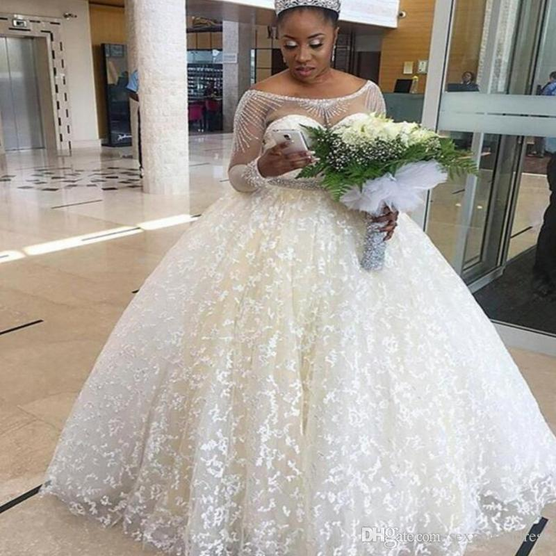 Ivory Lace Bodice Ball Gown Wedding Dress With Sheer Long: Ivory Ball Gown Wedding Dress South African Sheer Neck