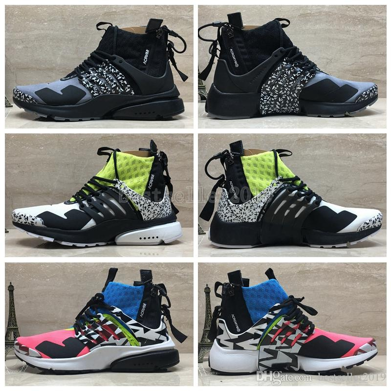 buy popular b4824 e7dc1 2018 Acronym x Presto Mid Running Shoes Pink Gray Yellow Prestos Women Mens  Trainers Sneakers Fly Authentic Air Zapatos Deportivos with Box