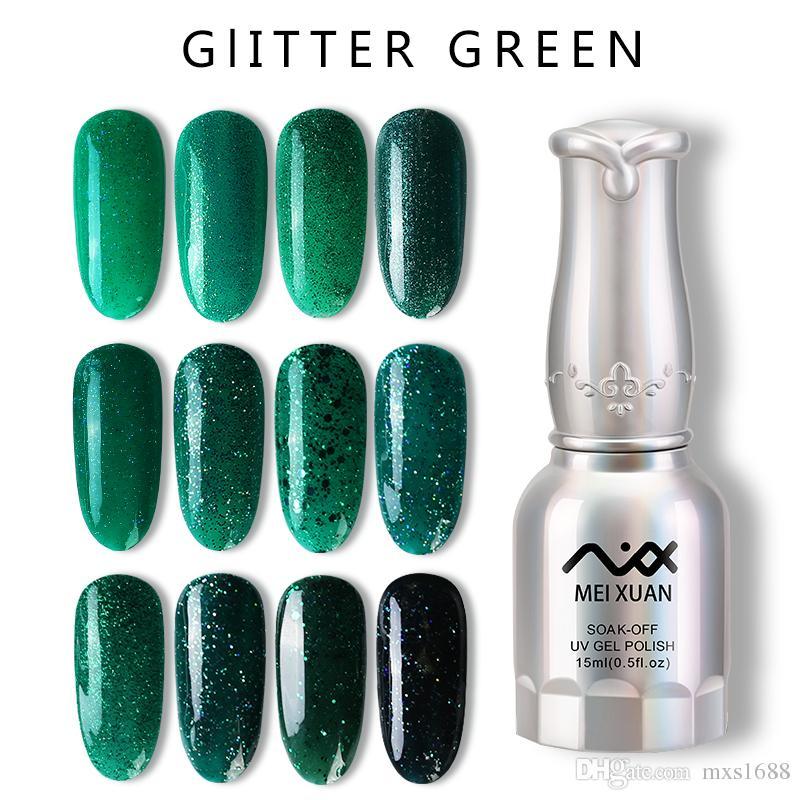 Meixuan Brillo Verde Gel De Uñas Polaco Bricolaje Soak Off Gel ...