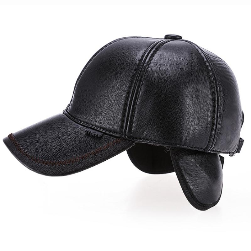 HT1874 Men Winter Hat PU Leather Baseball Cap Men Adjustable Baseball Hat  Thick Warm Snapback Cap Casual Dad Hats With Ear Flap Trucker Caps Flat Bill  Hats ... a66b1f27131