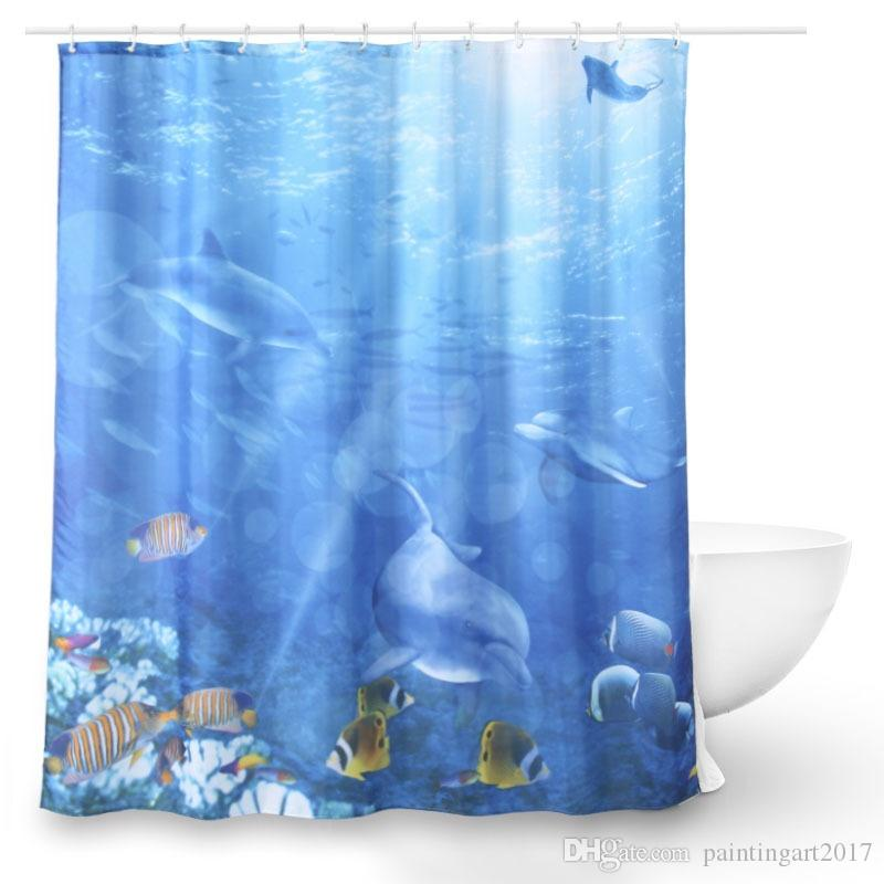 2019 Shower Curtains Art Fantastic Sea Animal Fish Dolphin Coral Blue Printing Decorative Polyester Fabric Bathroom From Paintingart2017