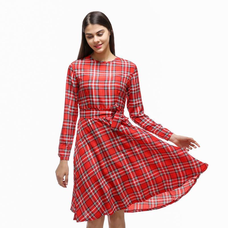 2018 Nueva Moda a y Bow Verano manga mayor Vestidos rojos Vestido cuadros Mujeres de 2019 al Primavera larga Comercio por niñas fiesta para de Xiatian001 Otoño nUWSUF6I