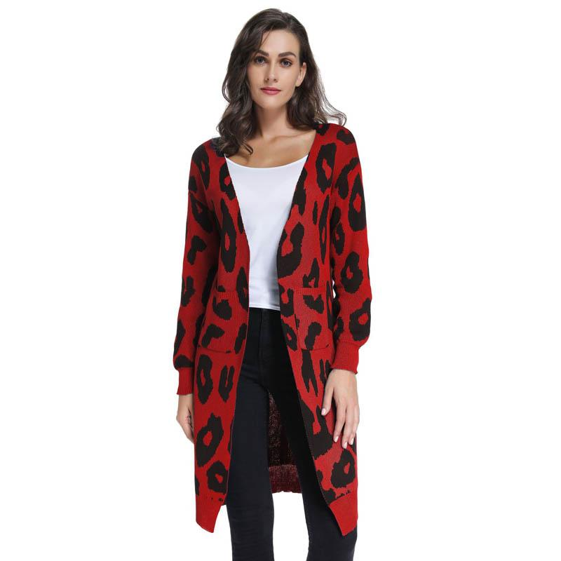 e091292e2b9d2 2019 Winter Hot Sweater Leopard Cardigan Women S Sweater New Knit Jacket  Multicolor Optional Casual Wild High Street Simple Style Leo From Charle