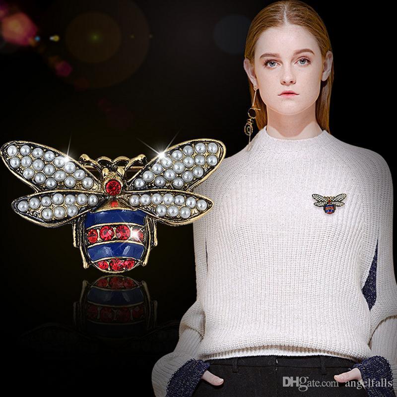 Acheter Strass Célèbre Vintage De Luxe Abeille Broche Designer Perle FxBagqF1