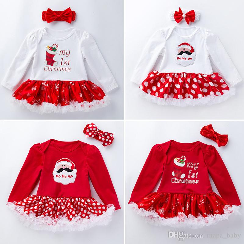 1725862c3d24 2019 Christmas Kids Rompers Xmas Baby Letter Santa Claus Print Outfits  Girls Santa Dress Romper Headband Fashion Christmas Kid Clothing Sets From  Mapa baby