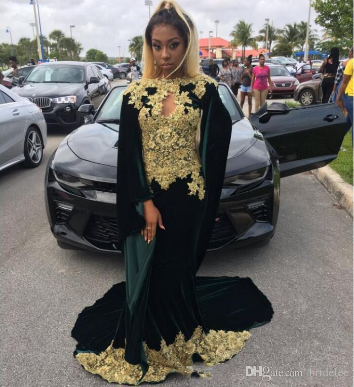 b56b7adde7e5 Dark Green Long Sleeve Prom Dresses Black Girl Charming Evening Dress With  Gold Lace Appliques Velvet African Fashion Formal Party Gowns Tulle Prom  Dress Uk ...