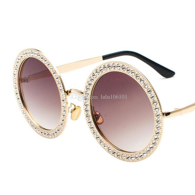 Big Round Sunglasses Women Brand Design Crystal Stone Metal Frame ...