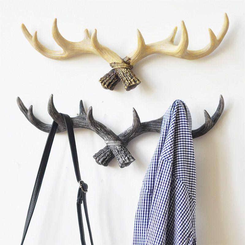 2018 Home Decoration Deer Antlers Rack Decorative Wall Hook Hangers ...