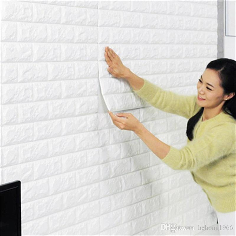 DIY Self Adhensive 3D Brick Wall Stickers Living Room Decor Foam Waterproof Covering Wallpaper For TV Background Kids Room 8 5as Z