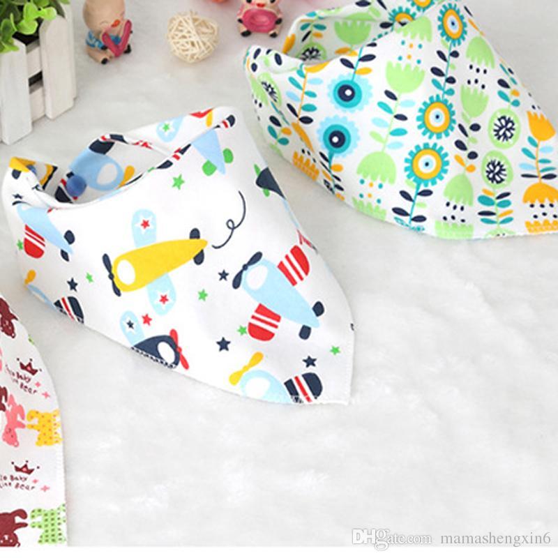 New Cartoon Baby Bibs Triangle Burp Cotton Burp Saliva Towel Infant Toddler Bandana Scarf Double Layers Kids Nursing Bibs