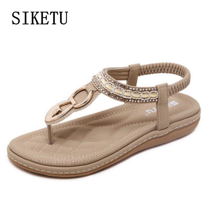 3a662e7493e9 SIKETU Summer Female Sandals Casual Comfortable Diamond Flat Flip Flops  Woman Sandals Large Size Soft Bottom Beach Shoes 40 41 Espadrilles  Birkenstock ...