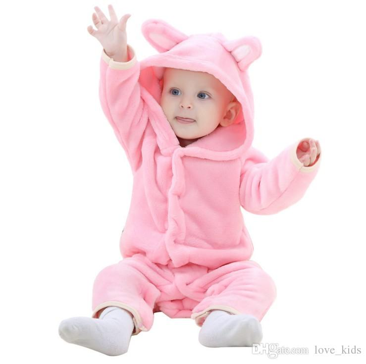 Fashion Baby Flannel Animal Warm Romper Kids Cartoon One-piece Home bear Romper Toddler Jumpsuit top quality