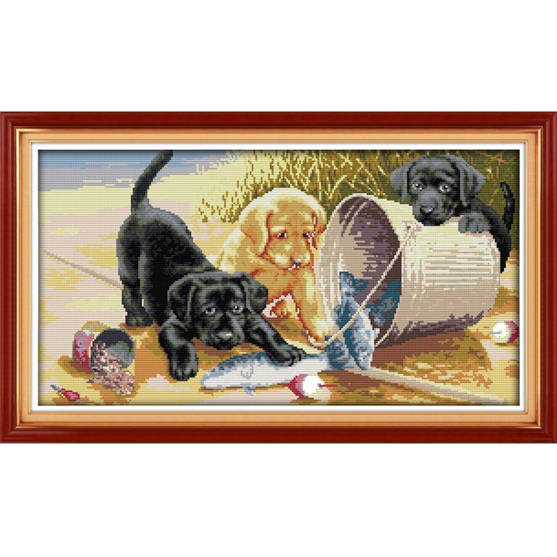 Üç köpekler Desenler DIY El Yapımı Sayılan Çapraz dikiş kiti ve Hassas Damgalı Nakış seti Dikiş DMC 14ct ve 11ct