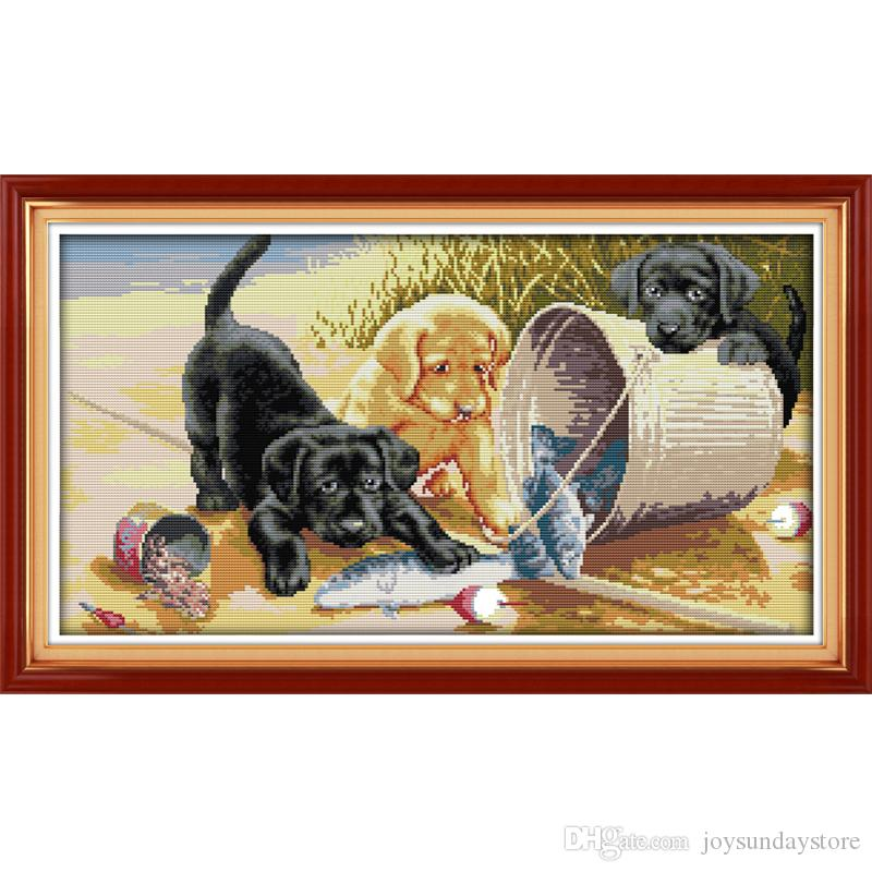 The Three dogs Patterns DIY Handmade Counted Cross stitch kit and Precise Stamped Embroidery set Needlework DMC 14ct and 11ct