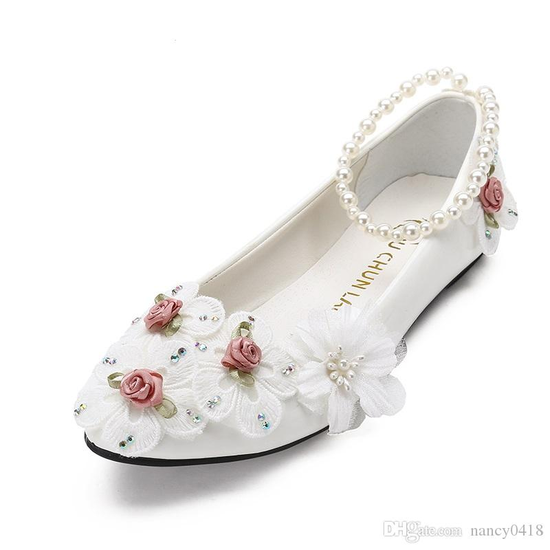 173833f80f16 Handmade Flower Wedding Shoes Pink White Lace Flower Women S Shoes Soft  Outsole Princess Bridesmaid Shoes Boat Shoes For Men Navy Shoes From  Nancy0418