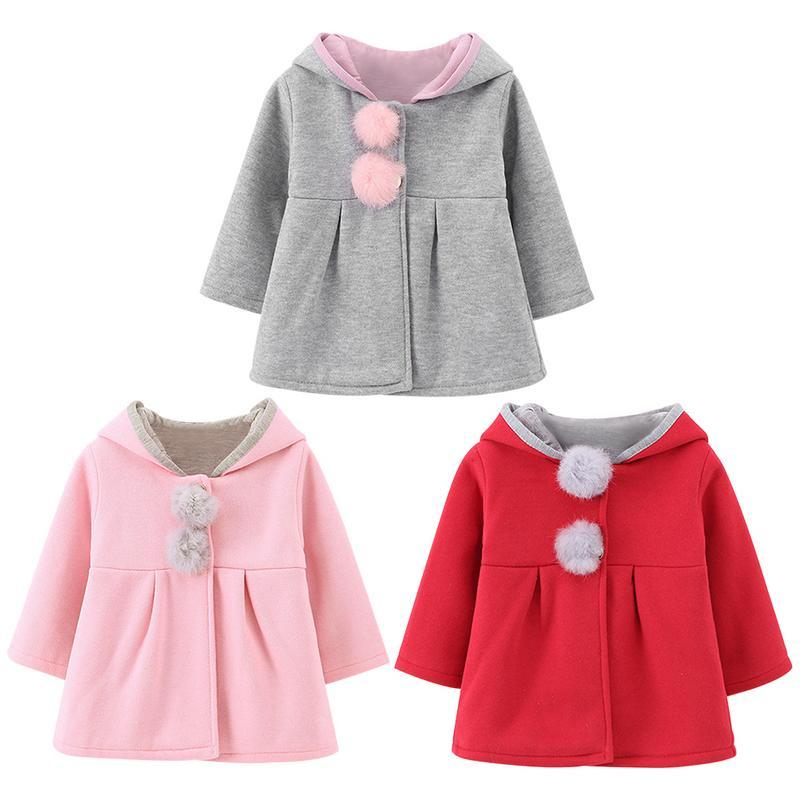 b3d74114b Baby Girls Toddler Kids Big Rabbit Ears Coat Autumn And Winter Hoodie  Jackets Earmuffs Outerwear Coats
