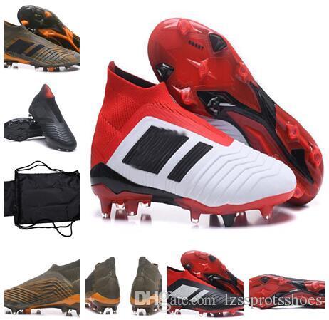 5e2e668f3ca 2018 KID Predator 18+ Botas De Fútbol FG Dorado Azul Negro Hombres MUJER  Zapatillas De Fútbol Con Alto Tobillo Zapatos De Fútbol Baratos Al Aire  Libre Por ...