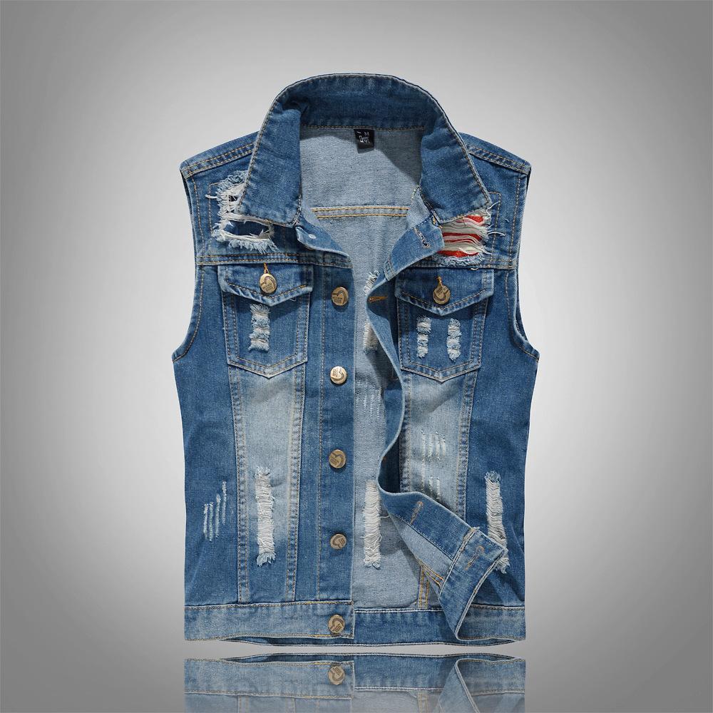 dc8bafe533502 2019 Men Denim Vest Men S Jacket Sleeveless Casual Waistcoat Men Spring  Jean Coat Ripped Slim Fit Male Jacket Cowboy Plus Size 5XL From Yukime