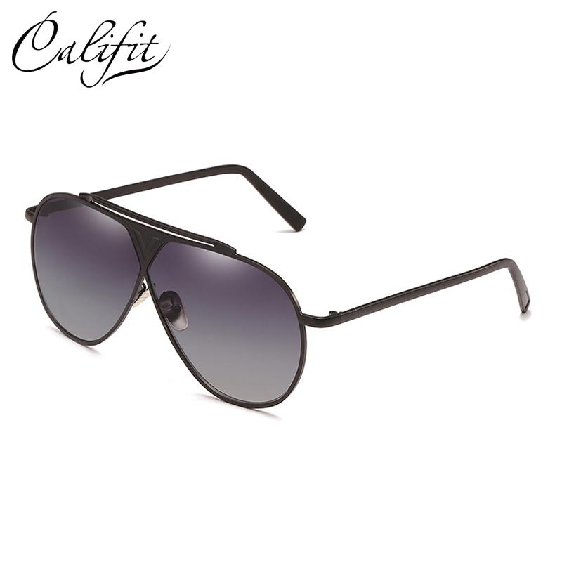 368d1ec96 CALIFIT Shield Sunglasses Women Gold Frame Mirrored Brand Design ...