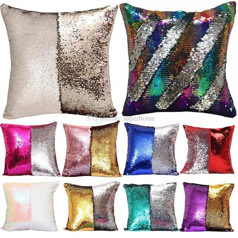 Sequin Pillow Case Mermaid Pillow Cushion Cover Wording Glitter