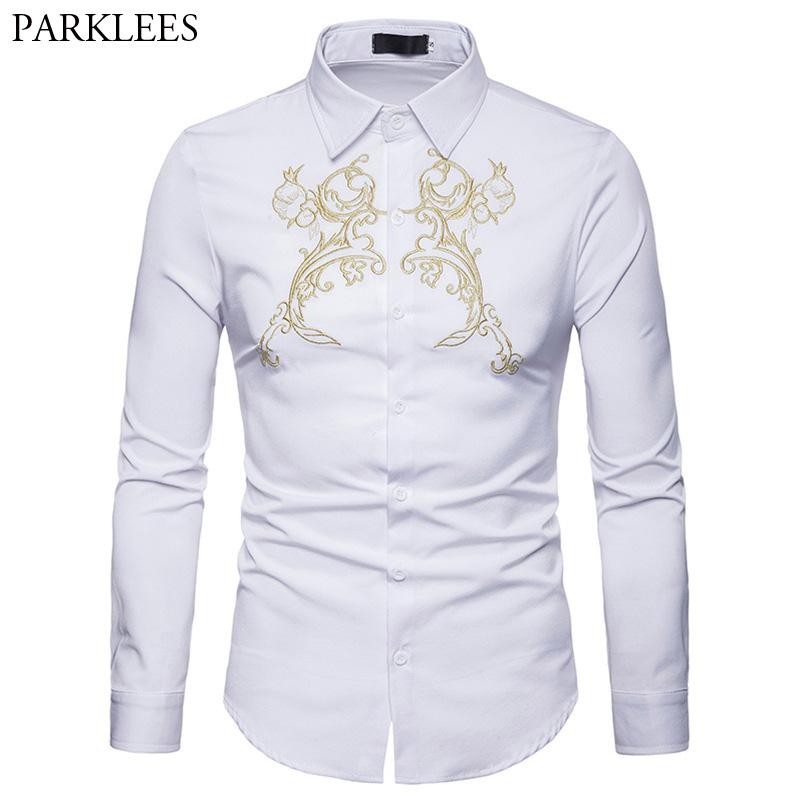 d813cde013cf 2019 Old Embroidery Mens Dress Shirts 2018 Autumn New Casual Button Down  Shirt Men Slim Fit Long Sleeve Camisas Para Hombre From Vikey10