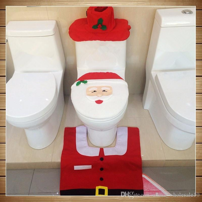 Excellent New Year Christmas Home Decorations Bathroom Toilet Seat Cover Sets 3Pcs Set Generic Happy Santa Toilet Seat Cover And Rug Set Customarchery Wood Chair Design Ideas Customarcherynet