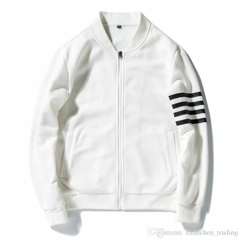 bdc52fbe6fa5 Baseball Jackets Men Streetwear Hip Hop Stand Collar Slim Fit Pilot ...