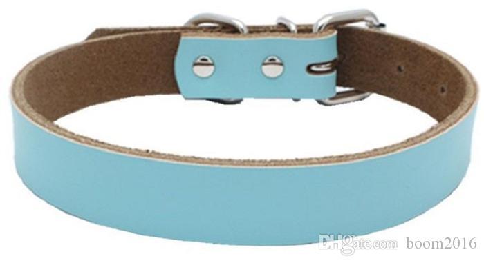 Heißer Verkauf Hund Zubehör Echt Rindsleder Hundehalsbänder Leinen mehrere Farben 4 Größen Wholesale Freies Verschiffen