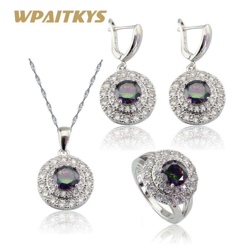 ca340d09bbfb Whole Salewpaitkys Round Multicolor Rainbow Cubic Zirconia Women Silver  Color Jewelry Sets Earrings Necklace Pendant Ring Free Gift Box Bridal Sets  Wedding ...