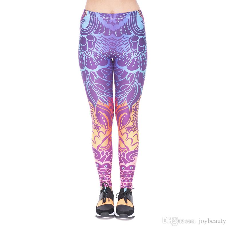 549699460998b2 2019 Women Leggings Rainbow Flowers 3D Print Girl Pencil Fit Pants Workout  Full Length Stretchy Skinny Yoga Soft Trousers New YX51858 From Joybeauty,  ...