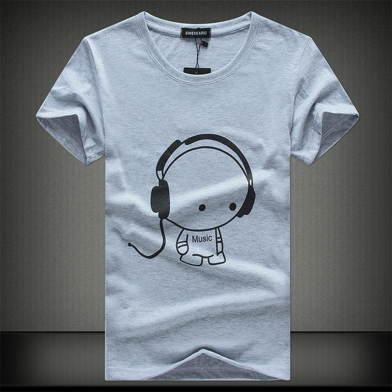 2e63c937c SWENEARO2018Top Quality T Shirts Fashion Headset Cartoon Printed Casual T  Shirt Men Brand T Shirt Cotton Tee Comfortable T Shirt Cool Tee Funny  Graphic T ...