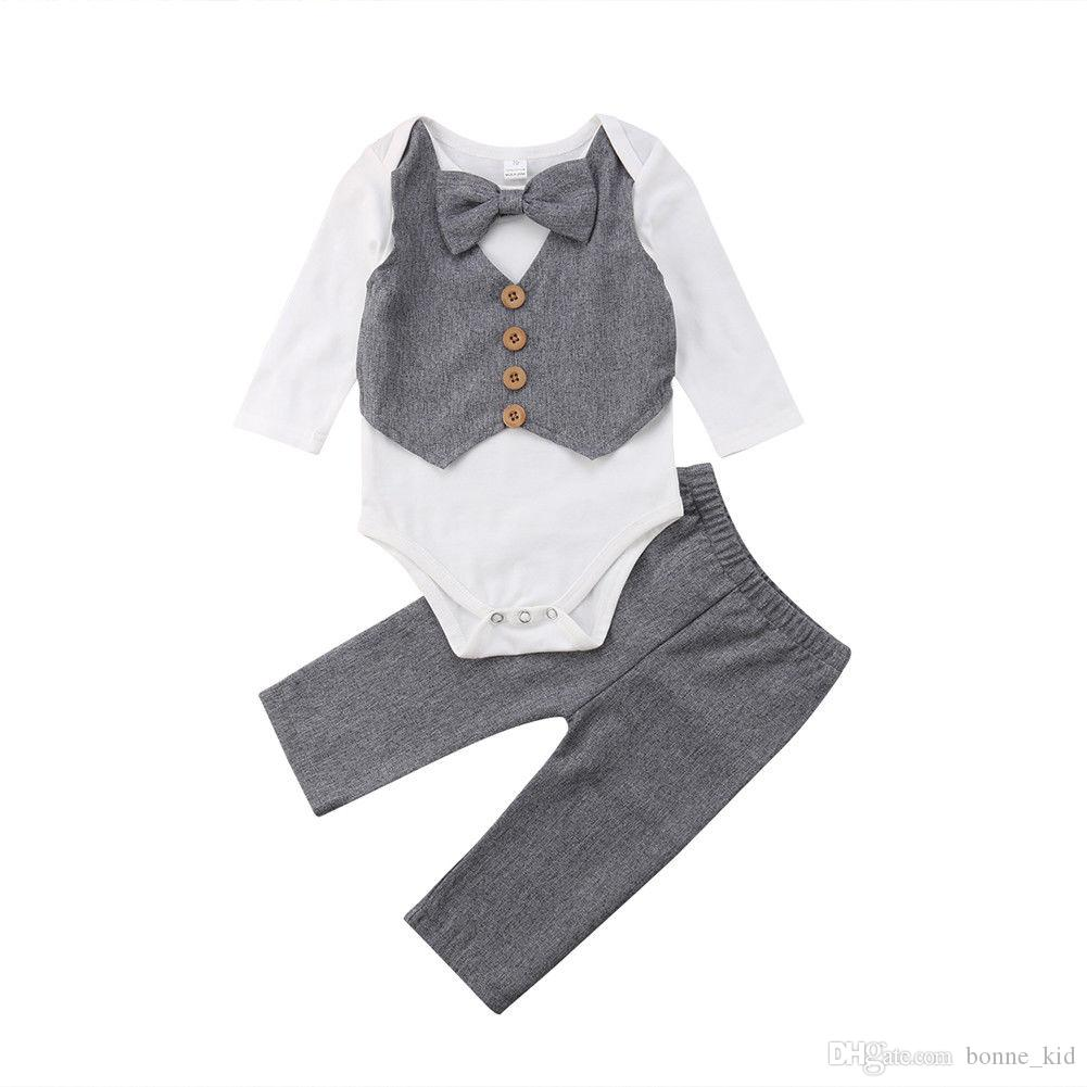 580373e11 2019 Newborn Baby Boys Gentleman Bow Tie Romper Tops Pants Set Outfits Kids  Baby Boys Clothes Wedding Long Sleeve Kid Clothing Set From Bonne_kid, ...