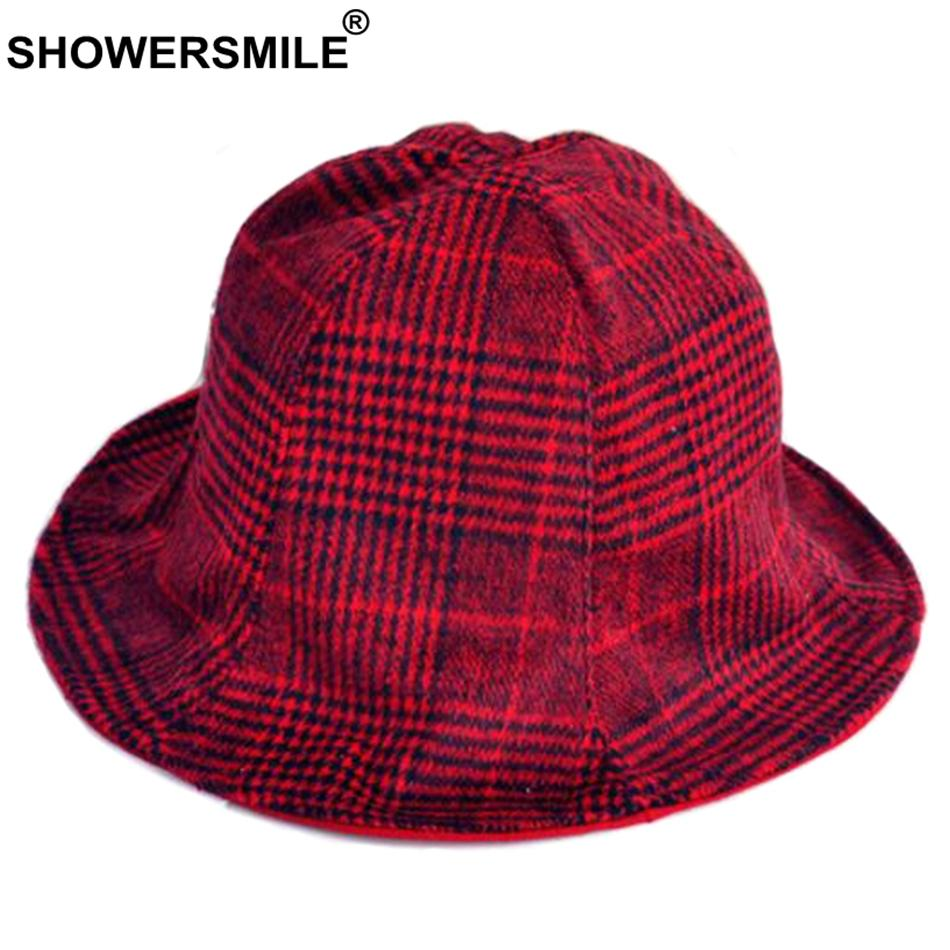 SHOWERSMILE Plaid Bucket Hats For Women Cotton Red Vintage Fishing Hat  Female British Style Houndstooth Foldable Caps And Hats Cowgirl Hats  Fishing Hats ... e19c83b93b3